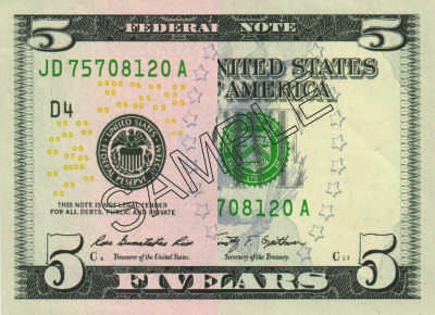$5 usd front